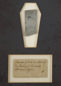 """Political:Presidential Relics, Framed Ensemble and Lincoln Coffin Relic. A small, square piece of lead, .75"""" x 2"""", framed in a display, 23"""" x 19"""", with ori..."""