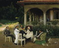 Paintings, ERICH RIEFSTAHL (German, 1862-1920). The Garden Party, 1902. Oil on canvas. 32 x 40 inches (81.3 x 101.6 cm). ...