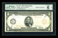 Fr. 840a $5 1914 Red Seal Federal Reserve Note PMG Good 6 Net