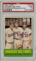 Baseball Cards:Singles (1960-1969), 1963 Topps Dodgers' Big Three #412 PSA NM 7....