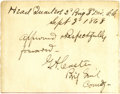 """Autographs:Military Figures, George Custer Autograph Affidavit Signed """"G. A. Custer"""", infull: ..."""