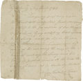 """Autographs:Statesmen, Levi Todd, Grandfather of Mary Todd Lincoln, Autograph DocumentSigned, 1 page, 7.5"""" x 7.5"""", Fayette Co., Kentucky, May 1784..."""