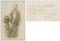 Autographs:Military Figures, Boston Corbett Clipped Signature with Rank Added in His Hand and Photograph. Corbett, the man who killed John Wilkes Booth,... (Total: 2 Items)