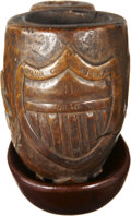 Military & Patriotic:Civil War, Massive Carved Burl Wood Civil War Pipe Identified to John Kipka, 8th Ohio Vols. Front with a deep relief carved American sh...