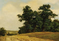 Fine Art - Painting, European:Antique  (Pre 1900), EUGEN DÜCKER (Russian/German, 1841-1916). PastoralLandscape. Oil on panel. 16-1/4 x 23 inches (41.3 x 58.4 cm).Signed ...