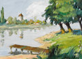 Fine Art - Painting, American, Attributed to IRVING RAMSEY WILES (American, 1861-1948). Shoreline with Dock. Oil on board. 9 x 12 inches (22.9 x 30.5 c...
