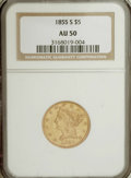 Liberty Half Eagles: , 1855-S $5 AU50 NGC. NGC Census: (13/63). PCGS Population (10/37).Mintage: 61,000. Numismedia Wsl. Price for NGC/PCGS coin ...