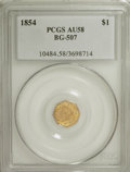 California Fractional Gold: , 1854 $1 Liberty Octagonal 1 Dollar, BG-507, High R.6, AU58 PCGS.PCGS Population (3/1). (#10484)...