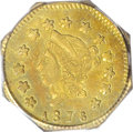 California Fractional Gold: , 1876 $1 Liberty Octagonal 1 Dollar, BG-1117A, R.8, AU55 PCGS. Largeobverse stars entered distant from the border. The D in...