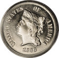 Patterns: , 1868 5C Five Cents, Judd-633, Pollock-705, R.5, PR65 Cameo PCGS.This pattern for a five cent nickel is similar to the regu...