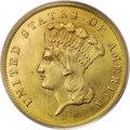 Three Dollar Gold Pieces: , 1859 $3 MS64 PCGS. Surviving 1859 three dollar gold pieces are welldistributed throughout the grading spectrum, from VG8 t...
