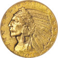 Indian Half Eagles: , 1915 $5 MS64 PCGS. A lovely five Indian and perfect as a Philadelphia type coin. The striking details are well brought up i...