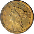 Liberty Quarter Eagles: , 1855-D $2 1/2 AU55 PCGS. Variety 18-M. Both sides of this elusiveDahlonega issue are toned in rich coppery-gold hues, with...