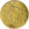 California Fractional Gold: , 1871 $1 Liberty Round 1 Dollar, BG-1204, High R.5, MS63 PCGS. Animpressively prooflike Select round dollar that has clean ...