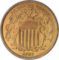 Patterns: , 1882 5C Shield Five Cents, Judd-1694, Pollock-1896, Low R.7, PR64Red PCGS. The obverse is similar to the regular-issue Shi...