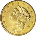 Liberty Double Eagles: , 1859-O $20 AU50 PCGS. The elusive nature of this coin begins with its minuscule mintage, only 9,100 pieces in pre-Civil War...