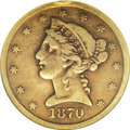 Liberty Half Eagles: , 1870-CC $5 VF25 NGC. The 1870-CC half eagle is overshadowed by themuch-promoted 1870-CC double eagle and eagle, but the ha...