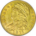 Early Half Eagles: , 1811 $5 Tall 5 AU58 PCGS. Tall 5, Breen-6463, BD-1, High R.3. This1811 variety shares its obverse with a reverse that was ...