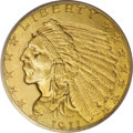 Indian Quarter Eagles: , 1911-D $2 1/2 MS64 PCGS. The 1911-D is the key date of the Indian quarter eagle series, with a minuscule mintage of 55,680 ...