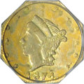 California Fractional Gold: , 1874 25C Liberty Octagonal 25 Cents, BG-775, High R.6, MS61 PCGS.According to the second edition of Breen-Gillio, the netw...