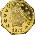 California Fractional Gold: , 1872 $1 Indian Octagonal 1 Dollar, BG-1120, Low R.5, MS64 PCGS. Ex:Jay Roe. The intricately struck devices are frosty, and...