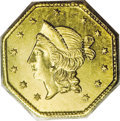 California Fractional Gold: , 1853 $1 Liberty Octagonal 1 Dollar, BG-531, R.4, MS63 PCGS. Apopular Period One octagonal dollar variety with a well-engra...