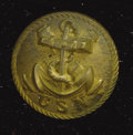 "Military & Patriotic:Civil War, Confederate States Navy Button Made into a Pin. This rare backmarked ""extra rich"" Confederate States Navy has the fouled anc..."