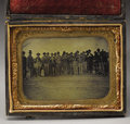 Military & Patriotic:Civil War, 1/4th Plate Tintype of a Group of Soldiers and Civilians Including Young Boys in Uniform. A group of standing men and boys i...