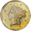 California Fractional Gold: , 1853 $1 Liberty Octagonal 1 Dollar, BG-519, Low R.4, MS65 NGC. Thislovely Gem features golden-brown borders and sea-green ...