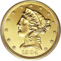 Proof Liberty Half Eagles: , 1904 $5 PR65 Cameo PCGS. Jeff Garrett and Ron Guth, in theirEncyclopedia of U.S. Gold Coins, estimate that only 50 to...