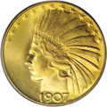 Indian Eagles: , 1907 $10 Rolled Edge MS65 PCGS. August Saint-Gaudens wascommissioned by President Theodore Roosevelt to create newcoinage...