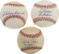 Autographs:Baseballs, Hall of Famers Single Signed Baseballs Lot of 3....