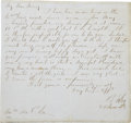 """Autographs:Military Figures, General Robert E. Lee Autograph Letter Signed """"R E Lee"""" to His Wife Mary. Dated June 25, 1862, 7"""" X 7½"""", one sid..."""