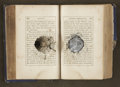 """Military & Patriotic:Civil War, Bullet-Struck Book, The Life of General Washington, approximately 300 pp., 5"""" x 3"""", blue boards, opened in c..."""