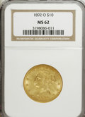 Liberty Eagles: , 1892-O $10 MS62 NGC. NGC Census: (121/0). PCGS Population (127/4). Mintage: 28,688. Numismedia Wsl. Price for NGC/PCGS coin...