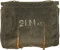 """Military & Patriotic:Civil War, Fine Rubberized Canvas Knapsack of the 21st Mass. Vol. Infantry. A large """"21 Mass."""" is boldly painted in original large whit..."""