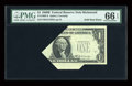 Error Notes:Foldovers, Fr. 1905-E $1 1969B Federal Reserve Note. PMG Gem Uncirculated 66EPQ.. ...