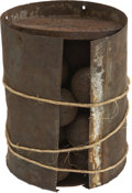 "Military & Patriotic:Civil War, Twelve Pound Civil War Naval Canister Round. Tin body 5½"" high with iron base and top plates, the top plate held in place by..."