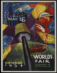 "Chicago World's Fair Poster (Unknown, 1934). Poster (26.5"" X 29.5"") ""A Century of Progress."""