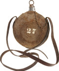 Military & Patriotic:Civil War, Early Philadelphia Depot Canteen with Original Leather Strap. Probably manufactured in the summer of 1862, this concentric r...