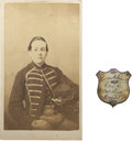 Military & Patriotic:Civil War, Civil War Carte de Visite and Silver ID Badge of Lucius M. Ingalls, Drummer, 23d Mass. Inf. Ingalls enlisted at ... (Total: 2 Items)