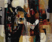 GEORGE CAMPBELL (Irish, 1917-1979) Autumn Shapes Oil on board 15-3/4 x 19-1/2 inches (40.0 x 49.5
