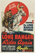 "Movie Posters:Western, The Lone Ranger Rides Again (Republic, 1939). One Sheet (27"" X 41"")Chapter 1 -- ""The Lone Ranger Returns.""..."