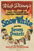 "Movie Posters:Animated, Snow White and the Seven Dwarfs (RKO, 1937). One Sheet (27"" X 41"") Style A...."