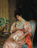 Fine Art - Painting, European:Modern  (1900 1949)  , ARTURO RICCI (Italian, 1854-1954). Young Woman Reading aLetter. Oil on canvas. 16-1/2 x 12-5/8 inches (42 x 32 cm).Sig...