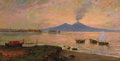 Fine Art - Painting, European:Modern  (1900 1949)  , CARLO BRANCACCIO (Italian, 1861-1920). Fishing Boats in the Bay of Naples. Oil on canvas. 18 x 35 inches (45.7 x 88.9 cm...