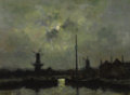 Fine Art - Painting, European:Antique  (Pre 1900), STANISLAS LÉPINE (French, 1835-1892). Moonlight in the Port.Oil on canvas laid on board. 13-3/4 x 18-1/2 inches (35 x 4...