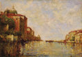 Fine Art - Painting, European:Modern  (1900 1949)  , JOSEPH ANTOINE BOUVARD (French, 1870-1956). A VenetianCanal. Oil on canvas laid on board. 13-7/8 x 20-1/8 inches(35.5 ...