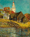 Fine Art - Painting, American:Modern  (1900 1949)  , ABBOTT FULLER GRAVES (American, 1859-1936). Church,Kennebunkport, Maine. Oil on canvas. 16 x 13 inches (40.6 x33.0 cm)...