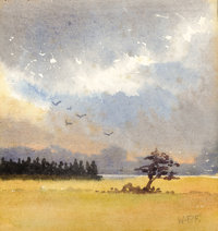 WILLIAM PERCY FRENCH (Irish, 1854-1920) Landscape Watercolor on paper 4-3/8 x 4-1/4 inches (11.2
